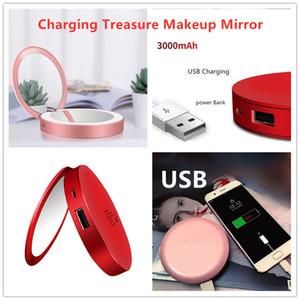 La nueva manera 2019 LED ronda de carga del tesoro de maquillaje espejo plegable portátil Mini LED espejo de regalo de envío de la gota