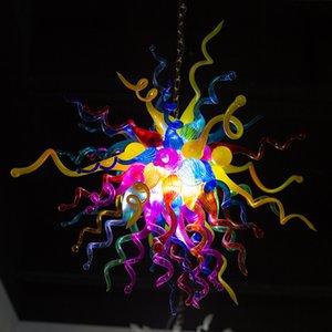 Fashion Colorful Flower Chandelier Lighting AC LED Pendant Light New House Elegant Style Home Lighting Blown Glass Ceiling Chandelier Lamps