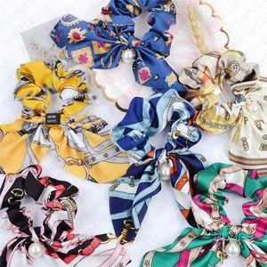 Réversible Chouchous femmes rétro pendentif perle de conception Scrunchy Bandeaux Hair Fashion Tie corde élastique Porte-cercle Ponytail cheveux D51104