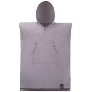 Cambiare Robe tovagliolo di bagno all'aperto con cappuccio adulto Telo Poncho Accappatoio Asciugamani Donne Uomo accappatoio Grey