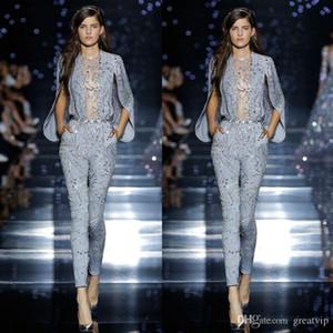 Zuhair Murad 2020 brillantes vestidos de noche de la ilusión completa de lentejuelas de manga larga vestidos de partido del mono vestido de fiesta por encargo