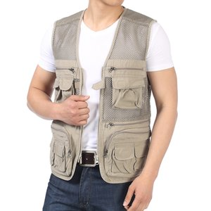 Hommes Daily Gilets Army Green Beige Mesh Coton Patchwork Homme Waistcoat Multi Function Poches Homme Gilet Gilet Chevrons Weskit
