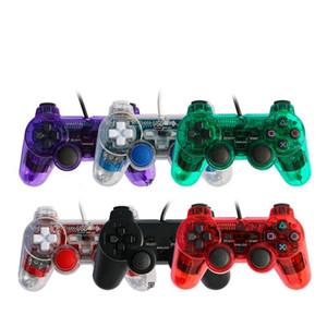 PS2 السلكية غمبد تحكم PS2 السلكية مقبض المقود بلاي ستيشن المالي Joypad نيتها إصدار قبضة تحكم لعبة وحدة التحكم 6Colors دي إتش إل الحرة