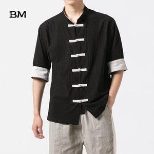 2020 당나라 최고의 중국어 번체 의류 남성용 리넨 유체상의 의류 정장 남자 블라우스 셔츠 중국어 의류 유니폼