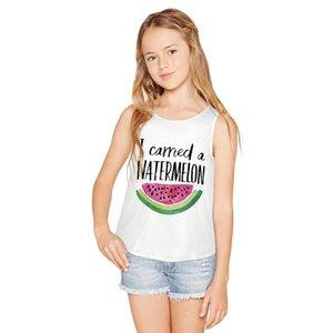 Raisevern Girls Crop Top 2019 Summer New Bite Watermelon Printing O Neck Sleeveless Vest Girl's Tank Tops Cute Vest