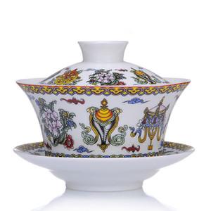 Wedding Tea Terrine Weiß Gelb Zwei Farben Keramik Gaiwan Chinesischen Kung Fu Tee-Set Teaware Terrine Sancai Teetasse Pu'er Wasserkocher