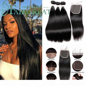 A Fairgreat Brazilian Straight Hair 3 Bundles With Closure 100 %Remy Human Hair Bundles With Closure 4 *4 Hair Extension