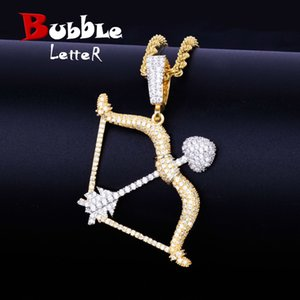 Pendenti di collana di forma dell'arco e della freccia Oro argento Colore Iced Zircone cubico Gioielli Hip Hop da uomo con catena da tennis J190711
