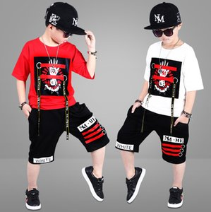 2 Pieces Suit Kids Teenage Boys Clothing Sets Hip-hop Dancing Sports Tracksuits Cotton T-shirt + Shorts Boys Summer Outfits T200707