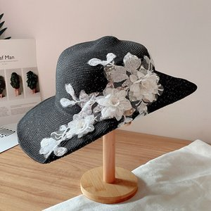 2020 모자 캡 모자, 스카프, 장갑 새로운 패션 숙녀 밀짚 태양 모자 챙이 넓은 꽃 켄터키 더비 교회 드레스 웨딩 태양 모자 여름