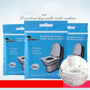 Desechables de asiento de inodoro portátil a prueba de agua cubierta estera de asiento de inodoro de seguridad Soluble en agua Pad para viaje Hotel Suministros para Baños OOA7906