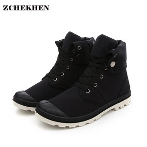 ZCHEKHEN Hip-hop Deserto Estilo Moda Outono de alta top Botas Sapato de Lona confortável Tactical Botas