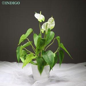 Indigo Anthurium Bouquet 18 Leaves 3 Flower lattice Anthurium Root Calla reale di tocco del fiore Tabella di cerimonia nuziale esterna all'ingrosso
