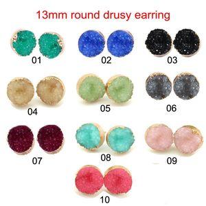 Heiße verkauf 13MM runde Druzy Stein-Bolzen-Ohrringe Bling Herz Drusy Rhinestone-Gold-Ohrringe für Frauen