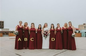 2020 Cheap Burgundy Backless v Neck A Line Bridesmaid Dresses Sweetheart Ruched Bodice Elegant Sweep Train Plus Size Prom Dresses