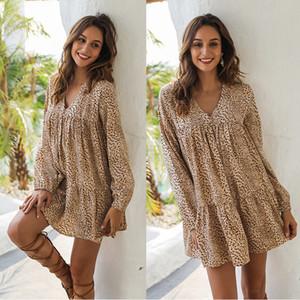 Nuove donne della stampa del leopardo modo del vestito da disegno a maniche lunghe con scollo a V sexy short skirt formato vestito sottile stampato donne estate S-XL