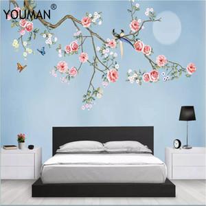바탕 화면 YOURAN 3D 사진의 HD 데스크톱 배경 화면 어린이 객실 꽃 가득 차있는 Hd 바탕 화면 벽 벽의 장식 푸른 벽