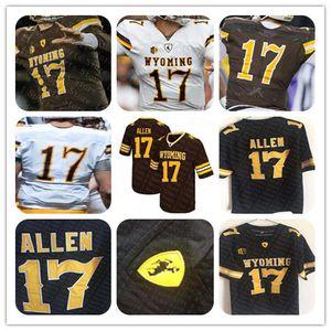 Personalizado NCAA Wyoming Cowboys 17 Josh Allen Jersey dos homens Marrom Branco Barato College Football Stitcehd Jerseys Tamanho Atacado S-3XL
