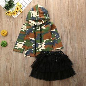 2020 Mais recente Hot Spring ang outono Crianças Bebés Meninas Roupas Camo com capuz manga comprida Top T-shirt Sets saia tutu Outfit Roupa