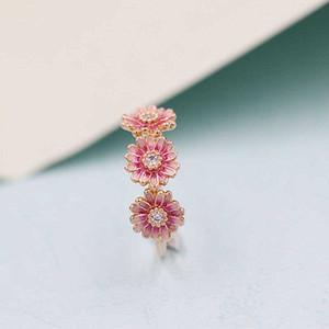 2020 Nouveau printemps 100% 925 en argent sterling européenne Pandora Rose d'or rose de fleur de marguerite émail Trio Bague pour femmes Bijoux