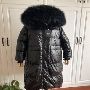 European Women's Over-knee super long 2020 Down jacket down jacket big fur collar thickened fashionable bright black winter wear