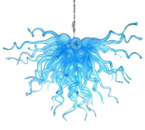 Blue Lamps Chandeliers and Pendants Lights AC Led Hand Blown Glass Pendant Light Modern Crystal Chandelier Lighting