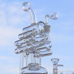 새로운 도착 두 기능 유리 물 파이프 유리 bongs 유리 버블 러 타이어 퍼크 14.4mm 여성 관절과 바이올린 Recycler