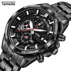 TEMEITE Aliexpress Uhr der Männer Sechs Hände Multifunktions-Uhr-Kalender-wasserdichte Stahlband-Quarz-Uhr-freies Verschiffen