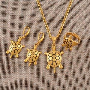 Anniyo Mikronezya Hawaii Kaplumbağa Takı setleri Salkım Küpe Yüzük Altın Renkli Papua Yeni Gine kaplumbağa Mücevher Seti # 138906