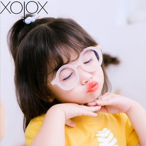 Marco XojoX Ronda de gafas retro Anti-azul claro del ojo de vidrios de protección de los niños plana Glassesframe