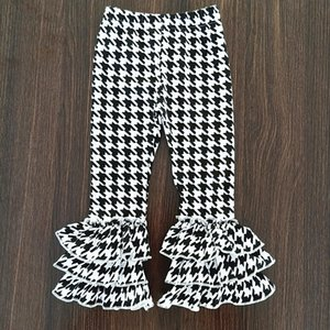 Kid Autumn Girls Ruffle Pants Black White Triple Ruffle Leggings Girls Bell Bottoms Winter Leggings Toddler Girl Spring Clothes Y200704
