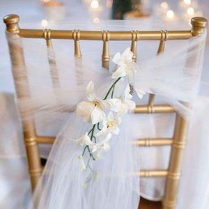 25PC / Lot New Wedding Organza Chair Sash Bow per la copertura della sedia Banchetto spiaggia giardino Wedding Party Decor organza telai