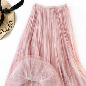 Sherhure 2020 Yaz Mesh Etekler Yüksek Bel Vintage A-Line Faldas Jupe Femme Kadınlar Uzun Etek Saia