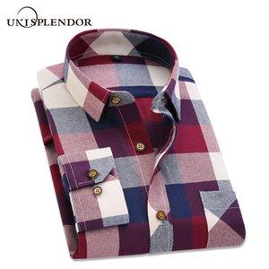 2019 Spring Autumn Flannel Men Plaid Shirt Long Sleeve Men's Warm Casual Shirts British Cotton Mens Check Shirt 14 Design YN790 MX200518