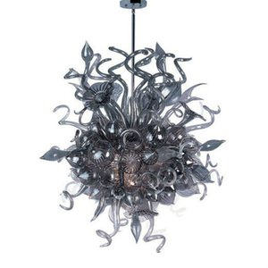 American Style Mão Blown Decor Art Glass Chandelier Murano Vidro Grey Pedant Luz Modern Custom Made LED candelabro pendurado Indoor Lamp