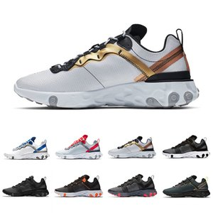 Nike Epic React 55 shoes Volt Metallic Gold React Element 55 Undercover X Upcoming Cuciture nastrate Running Athletic Shoes Rosso solare Outdoor Sports Men Women Sneaker