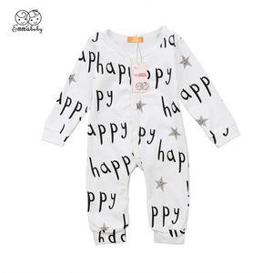 2019 neue Art und Weise Kleinkind-Kind-Junge-Mädchen-Baumwoll Glückliche Brief Body Langarm-Overall-nettes reizendes Baby Kinderkleidung Outfit