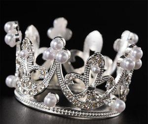 Caliente barra americana Mini Princesa Crystal Topper perla Tiara niños Adornos de pelo para las herramientas de fiesta de cumpleaños de la torta de boda de decoración