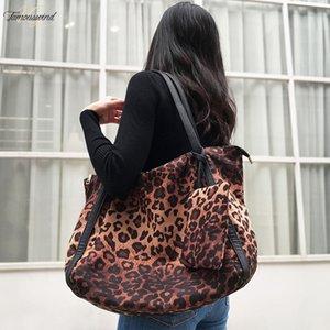 Mabula manera de las mujeres del leopardo del bolso de hombro de gran capacidad de trabajo Bolsa de tela de algodón Hangbag viaje de compras con poliester de bolsillo pequeño