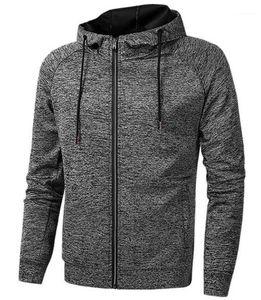 Mens Sports Hoodies Spring Fitness Long Sleeve Hooded Solid Color Mens Sweatshirts With Zipper Running Cardigan Slim