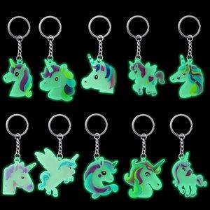 Party Unicorn Rubber Supplies Rainbow Keychain Baby Unicornio Party Luminous Decorations Birthday Kids Event Shower Utgnu