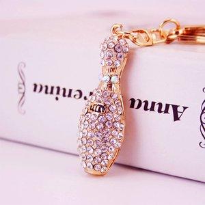 Perfume de cristal garrafa Keychain para Mulheres presentes fêmeas Bags Decoração pingente de metal Keyring
