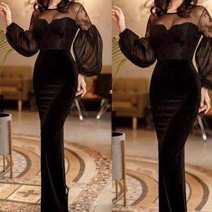 uzun kollu balo elbiseleri 2020 sırf yaka denizkızı kadife siyah abiye arap resmi elbiseler elbiseler de soiree