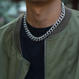 13mm Iced Out Cuban Necklace Chain Hip hop Jewelry Choker Gold Silver Color Rhinestone CZ Clasp for Mens Rapper Necklaces Link