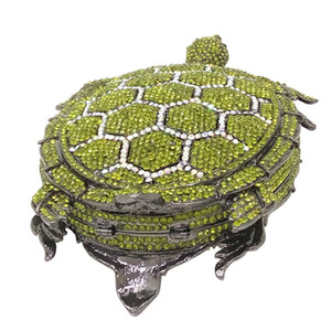 Dgrain Stilvolle Tortoise Frauen-Handtasche Luxuxdiamanten Abendtasche Dame Party Purse Cocktail Bankett Tasche Grünes Tier Tageskupplungen