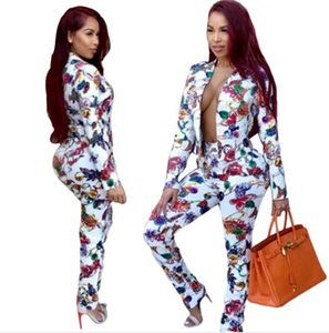 Women Jewelry Printed Clothing Set White 2pcs Tracksuits Jacket Pants Outfits Suits Casual Wear Fashion New