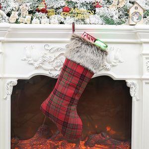 Tartan Design-Weihnachtsstrumpf-Geschenk-Beutel-Süßigkeit-Beutel für Kinder Weihnachtsweihnachts Anhänger Stocking Große Dekorative Socken Tasche