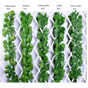 Künstliche grüne Weinblätter Simulation Rattan Blätter Garland Faux Vine Ivy Indoor / Outdoor Home Decor Hochzeit Blume grüne Blätter