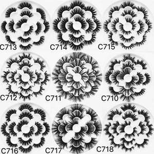 9 스타일 극적인 긴 가짜 25mm 27mm 5D 밍크 속눈썹 7 쌍 16 * 16 꽃 속눈썹 트레이 책 C710 - C718