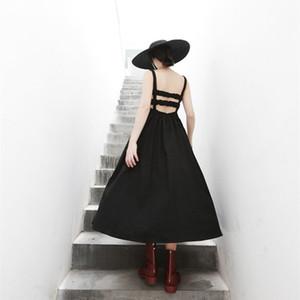 Traje de vestir 19 Fondo largo Una falda de una línea Sin mangas Pequeña Esquema Falda Dew Back Camisola Vestido 1049